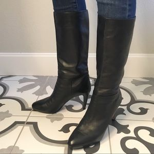 Prada black leather boots upper thigh 40.5 EU